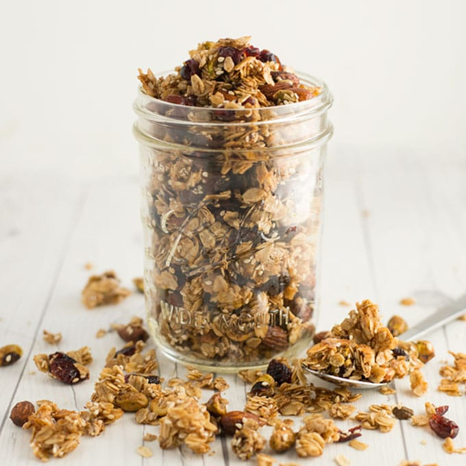mason jar filled with homemade granola