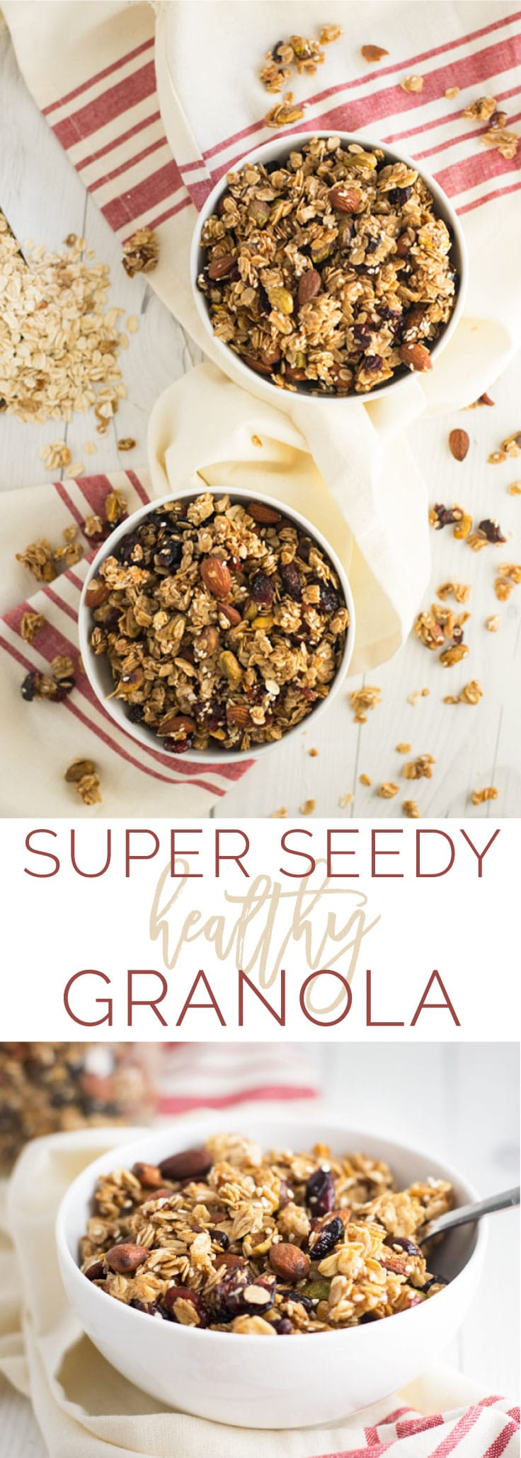 Super Seedy Healthy Granola -- This homemade granola recipe is naturally vegan, gluten-free, and only requires simple REAL ingredients. It\'s chunky, crunchy, nutty, and sweet all bundled into little clusters. #granola #homemade #healthy #vegan #cleaneating #recipe | mindfulavocado