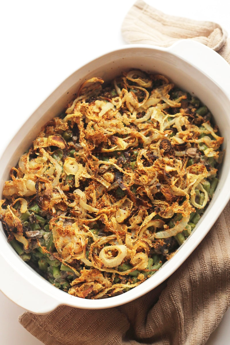 Green bean casserole by Hummusapien for vegan Thanksgiving side dish recipe