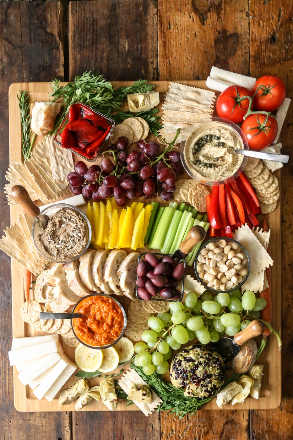 veagn charcuterie board by Plant Philosophy for Thanksgiving appetizer recipe