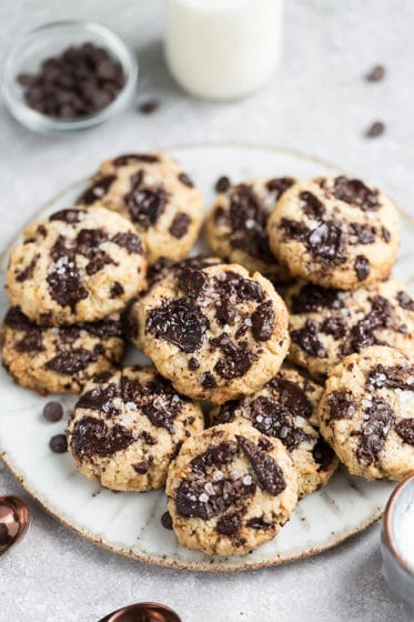 Chocolate chip cookies piled on a plate