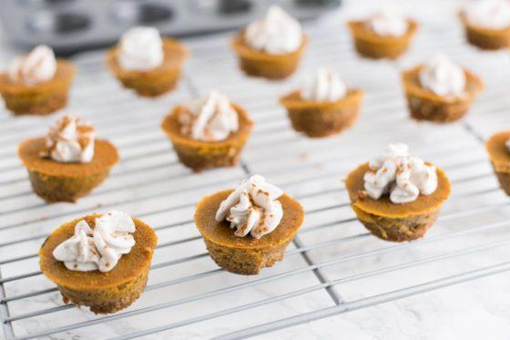 vegan pumpkin pie bites by Mindful Avocado for vegan Thanksgiving dessert
