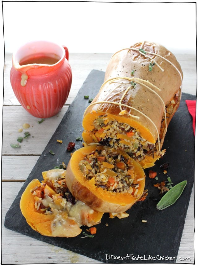 stuffed roasted butternut squash by It Doesn't Taste Like Chicken for vegan Thanksgiving main dish