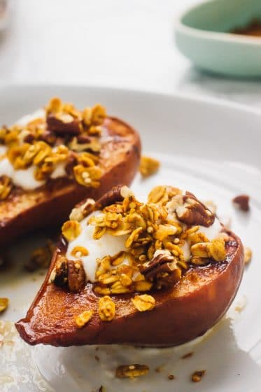 cinnamon baked pears by Jessica in the Kitchen for vegan Thanksgiving dessert