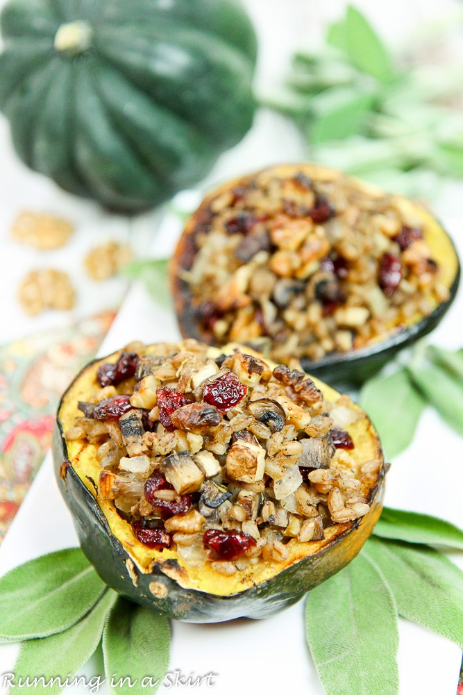 Stuffed acorn squash by Running With A Skirt for Thanksgiving main dish recipe