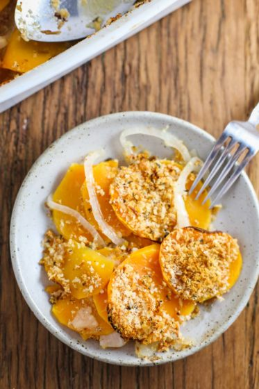 butternut squash au gratin by Food With Feeling for Thanksgiving side dish