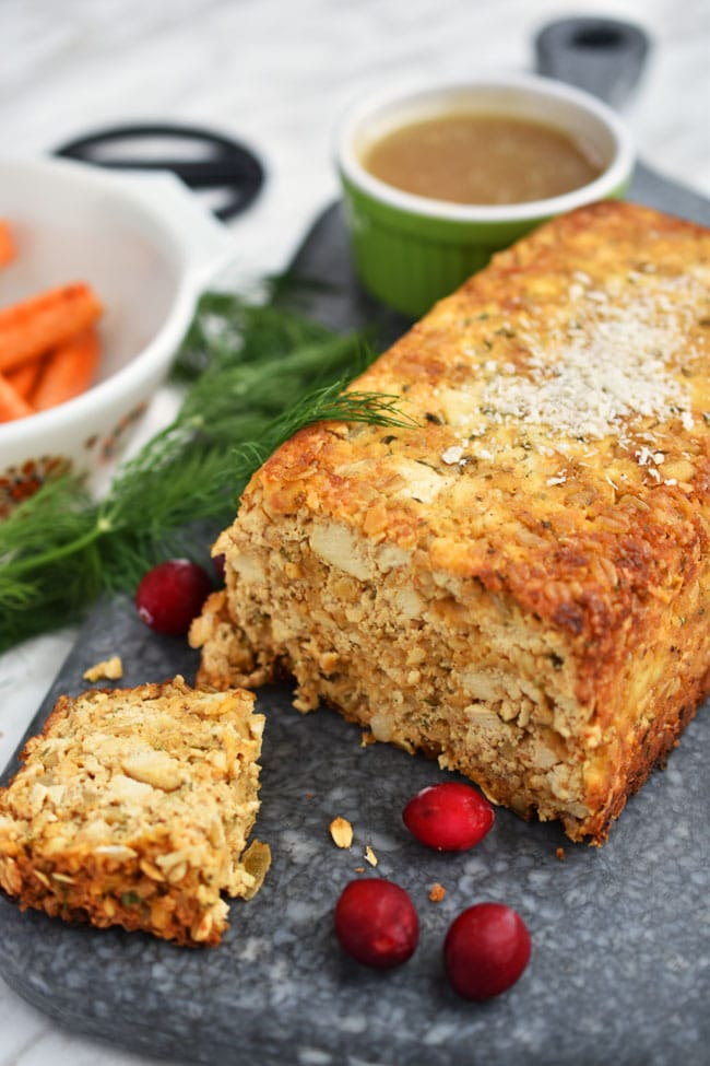 cheezy tofu loaf by Woman in Real Life for vegan Thanksgiving main dish