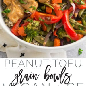 Peanut Tofu Grain Bowls -- Crisp tofu, fluffy quinoa, and roasted vegetables topped with a delectable peanut sauce. This healthy grain bowl is vegan, gluten-free and the best for lunches on the go or weeknight meals! #vegan #healthy #cleaneating #glutenfree #tofu #buddhabowls | Mindful Avocado
