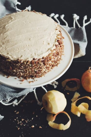 vegan apple spice cake with maple buttercream by Hot for Food for vegan Thanksgiving dessert