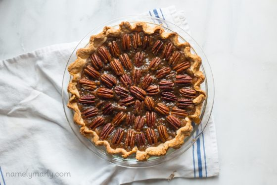 vegan pecan pie by Namely Marly for Thanksgiving dessert recipe