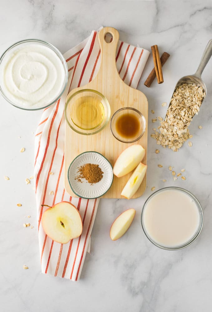 ingredients for apple pie smoothie on marble background