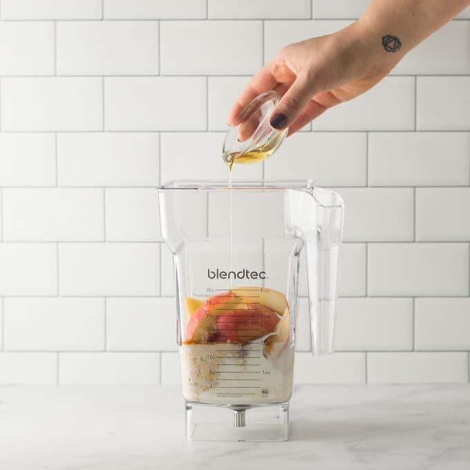 ingredients for smoothie in blendtec blender