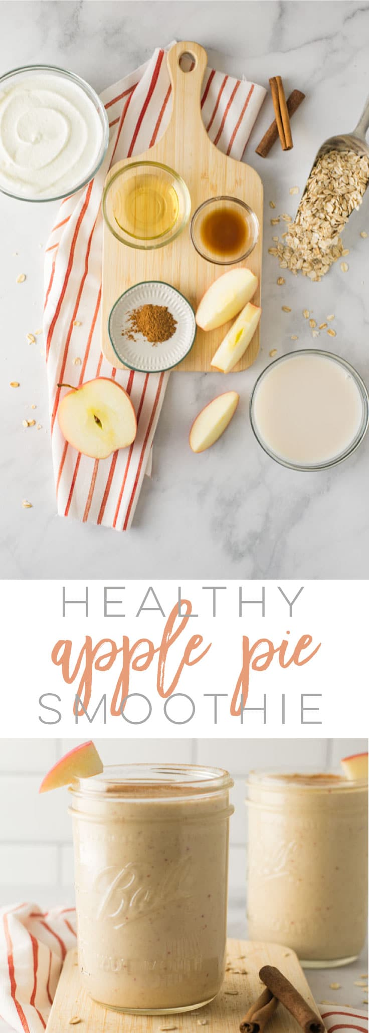 Healthy Apple Pie Smoothie -- All the flavors you love in an apple pie blended together in this healthy smoothie recipe. Only requires a handful of ingredients and takes just minutes to make! #breakfast #cleaneating #healthy #fall #recipes #smoothie | Mindful Avocado