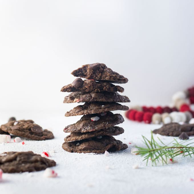 stack of chocolate peppermint vegan Christmas cookies