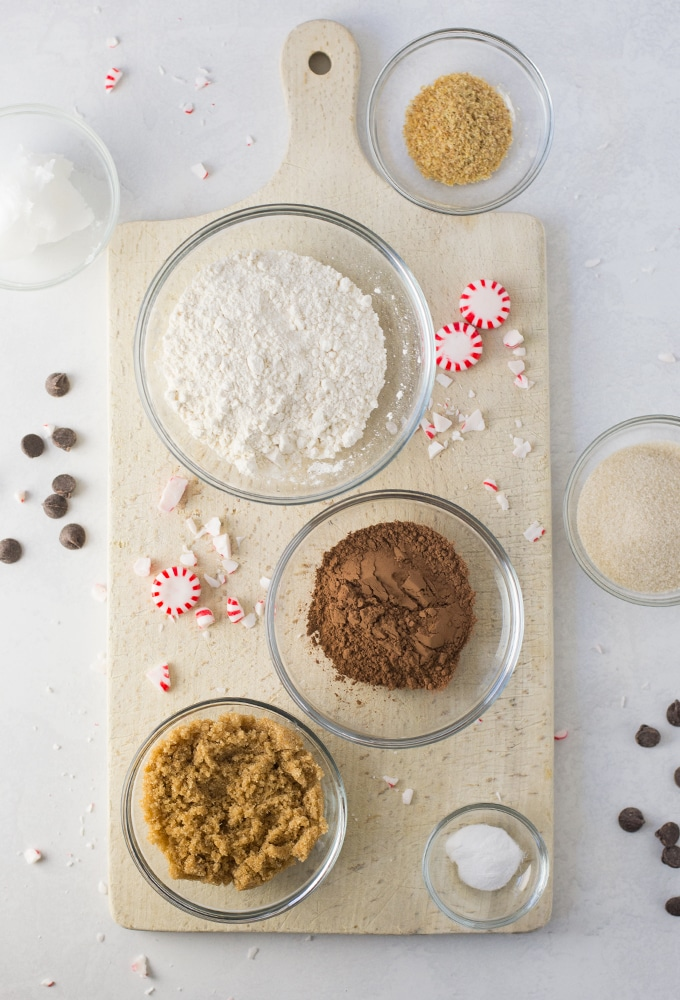 ingredients for vegan Christmas cookies on white background