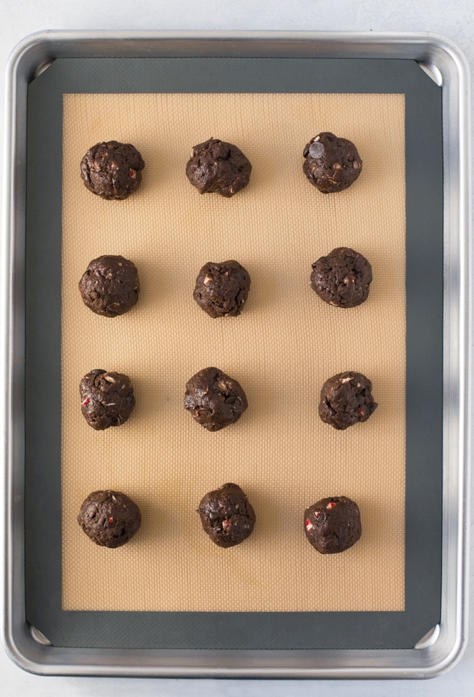vegan chocolate cookie dough on baking sheet