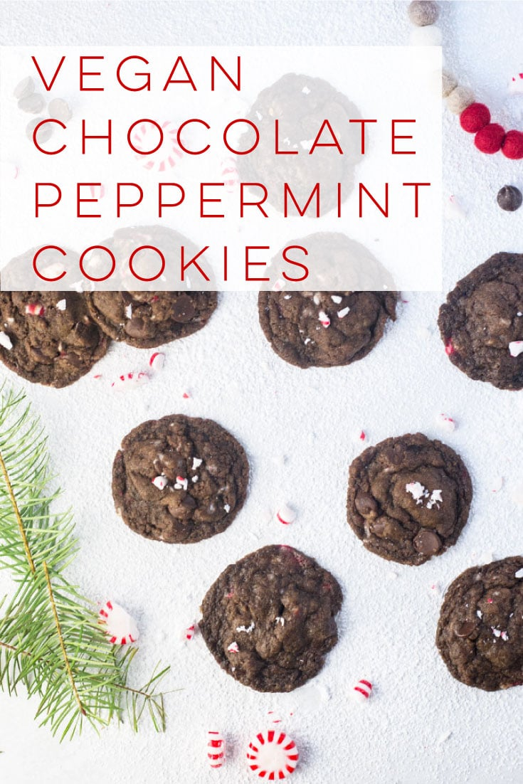 Vegan Chocolate Peppermint Cookies -- Crispy on the outside, chewy and gooey in the center, these chocolate peppermint cookies are guaranteed to make spirits bright! This vegan Christmas cookie recipe is a must bake this holiday season. #christmas #vegan #chocolate #peppermint #cookies #veganbaking | Mindful Avocado