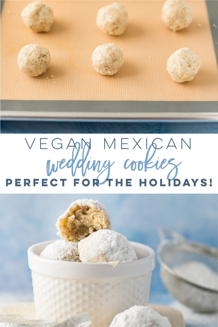 Vegan Mexican Wedding Cookies -- Also known as Russian Tea Cakes or Snowballs, this traditional cookie has gone vegan! Cookie full of a buttery, nutty flavor rolled up in powdered sugar. Perfect for cookie swaps or any holiday occasion, these classic cookies are the best! #christmascookies #vegan #baking #holiday #cookies