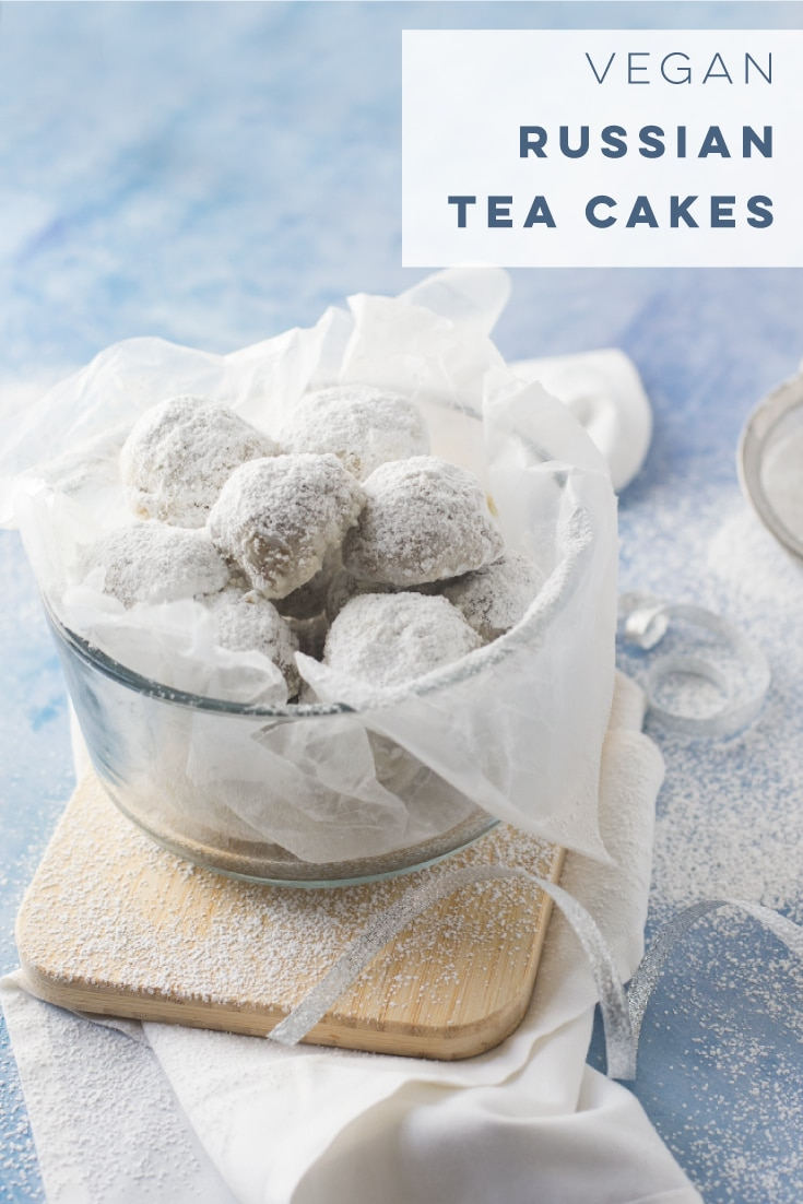 Vegan Russian Tea Cakes are so easy to make and full of flavor! Perfect for a cookie swap of holiday party! #christmascookies #vegan #baking #holiday #cookies