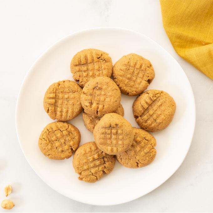 plate of vegan peanut butter cookies