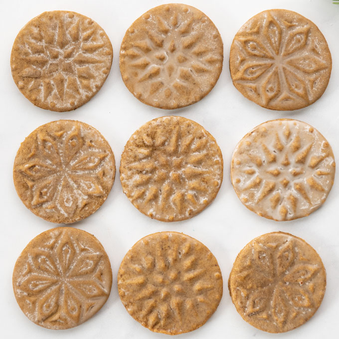 stamped cookies with glaze