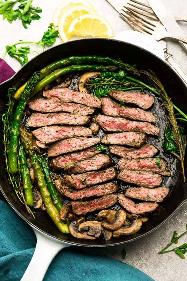 Top view of Sliced steak with asparagus and mushrooms in a skillet
