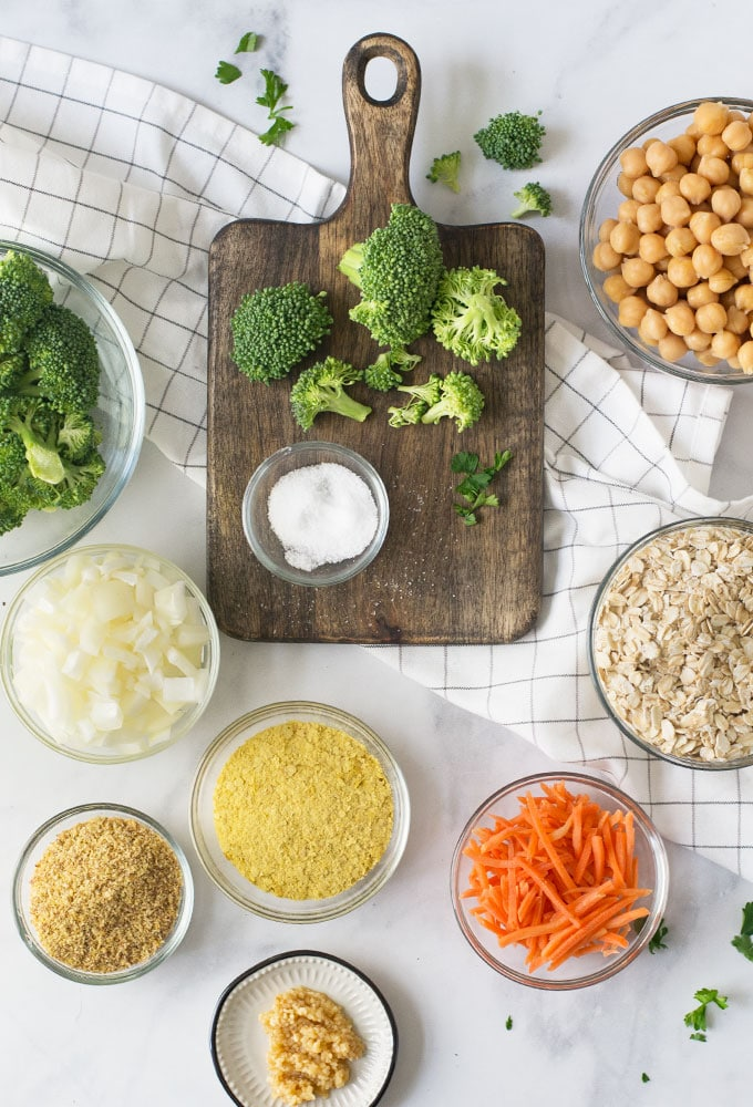 ingredients for broccoli and cheese vegan burger