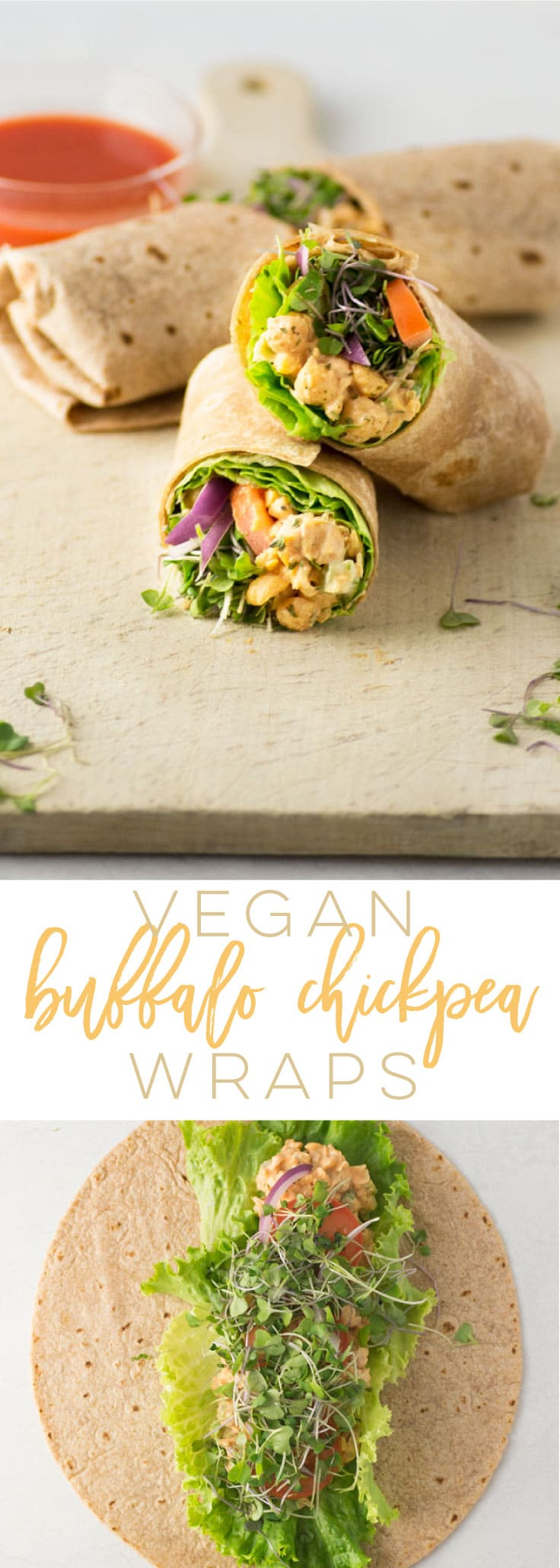 Vegan Buffalo Chickpea Wraps -- Buffalo chickpea salad makes the best vegan sandwich filler! A creamy salad with a punch of hot sauce, this recipe is the best for a vegan lunch. #vegan #lunch #chickpeas #hotsauce #plantbased | Mindful Avocado