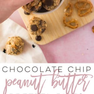 Chocolate Chip Peanut Butter Pretzel Bites -- This healthy energy bites recipe is not only vegan and no bake, but crazy delicious! Oats, chia seeds and sweetener paired with chocolate chips, peanut butter, and pretzels make the most perfect sweet and salty high-protein snack. #nobake #vegan #plantbased #snack #chocolate #peanutbutter #energybites #protein #healthy | Mindful Avocado