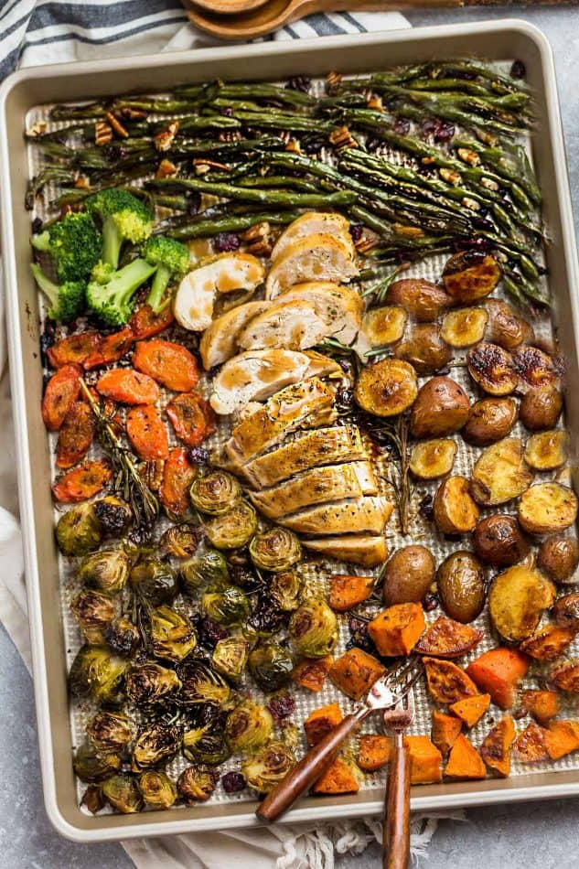 Top view of Sheet Pan Turkey Dinner with a variety of roasted vegetables