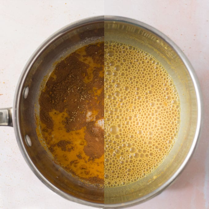 turmeric latte in sauce pan