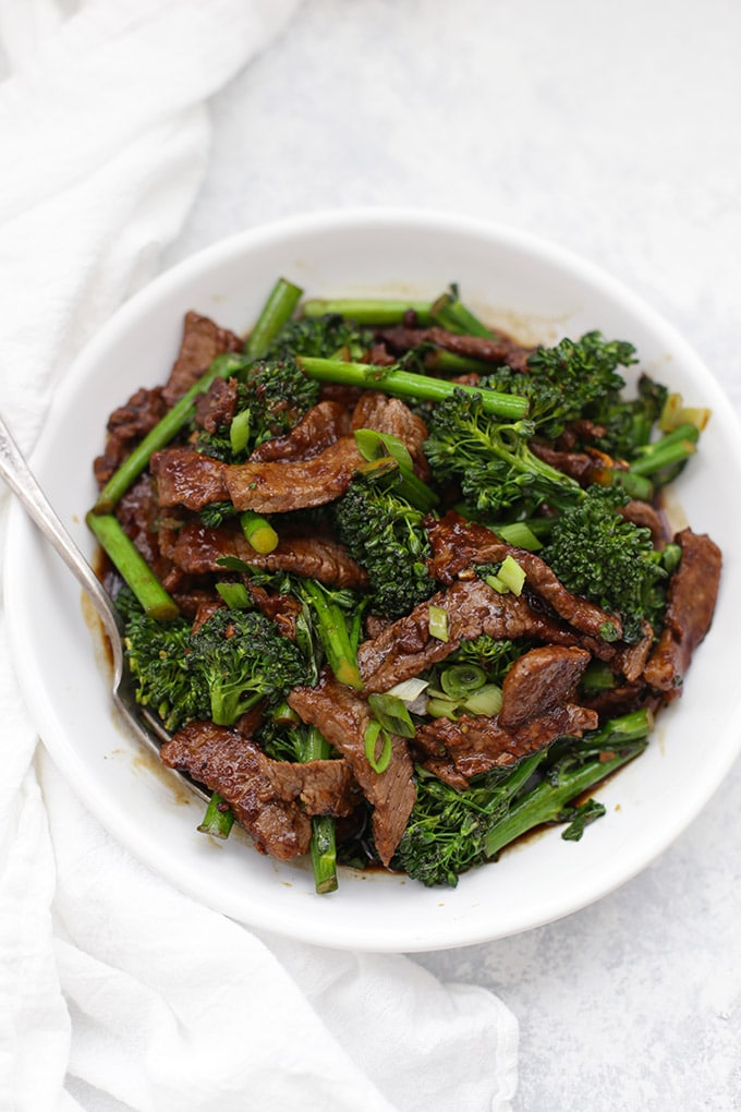 Top view of a serving of beef and broccoli stir fry in a bowl