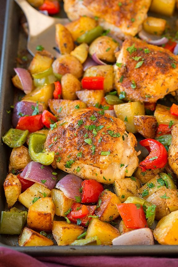 Close-up view of Cajun Chicken Sheet Pan Dinner with vegetables