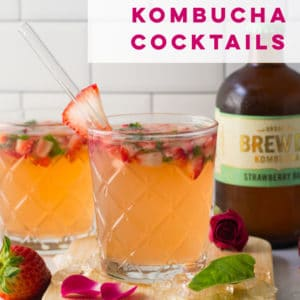 Strawberry Basil Kombucha Cocktail -- Make this easy boozy beverage using fresh strawberries, basil, vodka, sweetener, and kombucha! This healthy drink recipe is a must try! #alcohol #drinks #kombucha | Mindful Avocado
