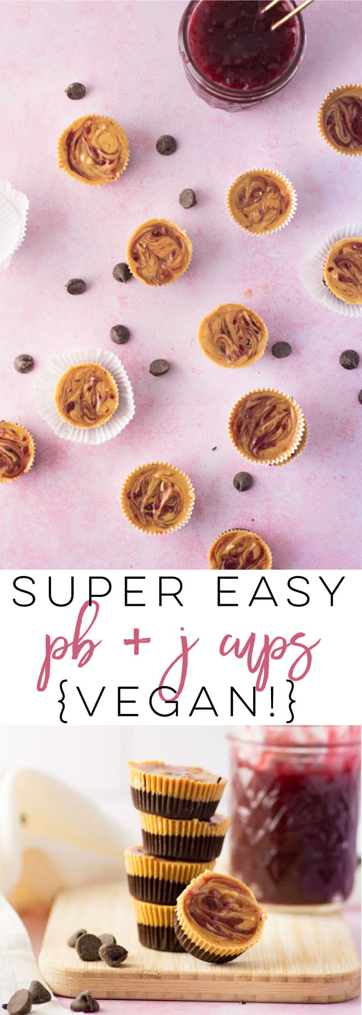Peanut Butter and Jelly Cups - These homemade Reeses cups have a fun twist with the addition of jelly! Try the easy recipe for a bite-sized treat that can be enjoyed as a snack or dessert! #vegan #chocolate #peanutbutter #snack #dessert #reeses | Mindful Avocado