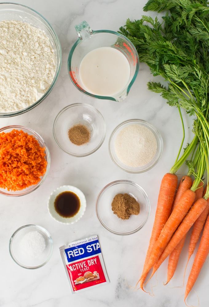 ingredients for vegan carrot cake cinnamon rolls