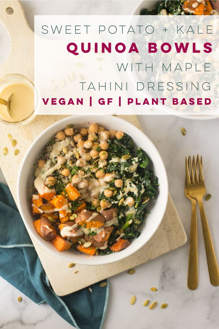 Need a healthy lunch or dinner recipe? This kale and sweet potato quinoa bowl is the PERFECT meal! Quinoa, veggies, chickpeas, and a delicious maple tahini dressing! #vegan #glutenfree #vegetarian #quinoabowls #lunch #dinner #kalesweetpotatobowl #quinoabowlrecipe | Mindful Avocado