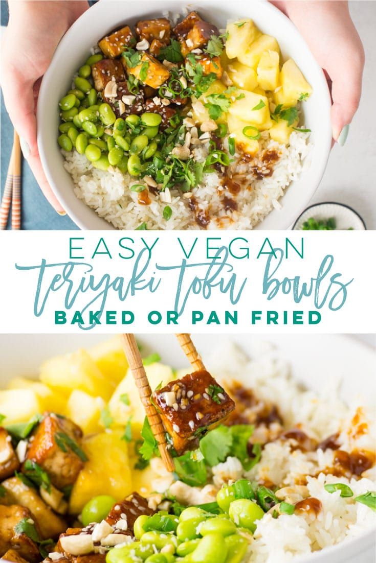 Vegan Teriyaki Tofu Bowls -- This easy recipe features crispy tofu covered in teriyaki sauce paired with fluffy white rice, pineapple, and edamame. Top with cilantro, green onions, chopped cashews, and sesame seeds for a wholesome bowl! With two methods to cook the tofu, this recipe is very adaptable! #crispytofu #teritakitofu #easyvegandinner #teriyakitofubowls | Mindful Avocado