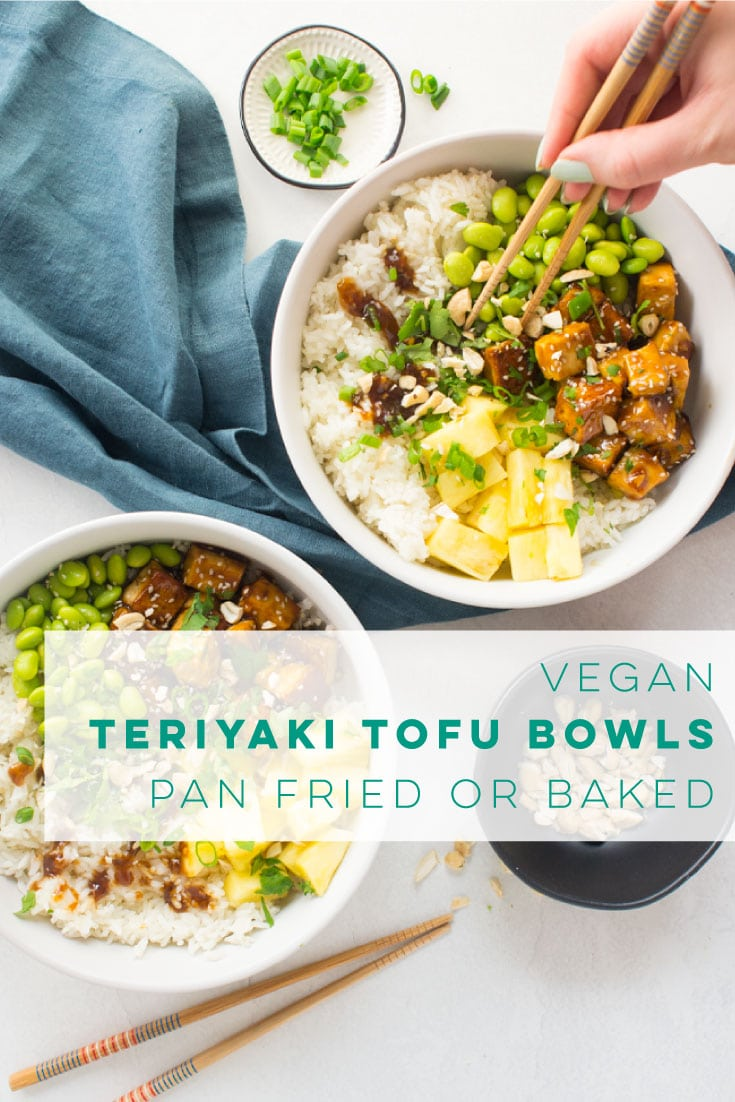 Vegan teriyaki tofu bowls are perfect for lunch or dinner! Crispy tofu covered in teriyaki sauce paired with rice, edamame, and pineapple. Easy recipe that's great for meal prepping! #crispytofu #teritakitofu #easyvegandinner #teriyakitofubowls | Mindful Avocado