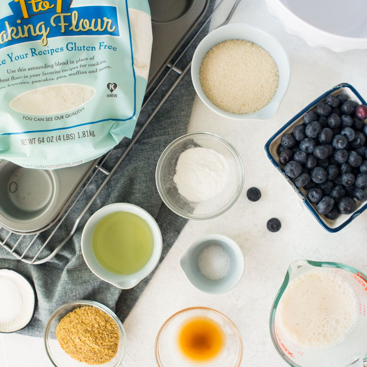 ingredients for vegan and gf blueberry muffins