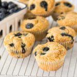 vegan and gluten free blueberry muffins on cooling rack with fresh blueberries
