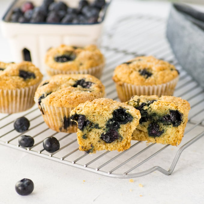 vegan and gluten free blueberry muffins on cooling rack