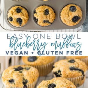 Vegan and Gluten Free Blueberry Muffins -- This muffin recipe is so easy to make and only requires 1 bowl! Fluffy muffins adorned with juicy blueberries with a crunchy bakery-style topping. These healthy muffins are the BEST! #veganmuffins #glutenfreemuffins #healthyblueberrymuffins #easymuffinrecipe #breakfast #brunch | Mindful Avocado