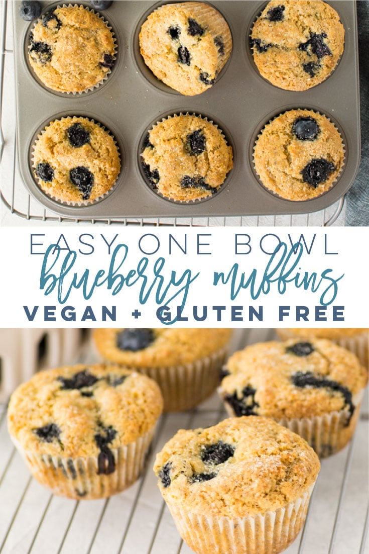Vegan and Gluten Free Blueberry Muffins -- This muffin recipe is so easy to make and only requires 1 bowl! Fluffy muffins adorned with juicy blueberries with a crunchy bakery-style topping. These healthy muffins are the BEST! #veganmuffins #glutenfreemuffins #healthyblueberrymuffins #easymuffinrecipe #breakfast #brunch   Mindful Avocado
