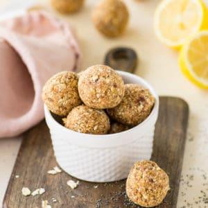 lemon poppy seed energy bites - healthy vegan and gluten free no bake snack