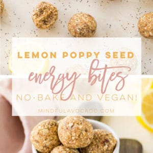 Lemon Poppy Seed Energy Bites -- A healthy no bake snack that is so easy to make! Perfect for lunch or snacking on the go and great for kids too! #energybites #healthysnack #vegansnack #lemonpoppyseed | Mindful Avocado