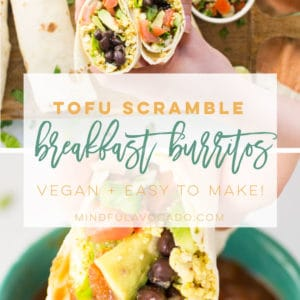 Tofu scramble breakfast burritos are the BEST savory vegan breakfast. Perfect for a quick breakfast on the go and they even make a great freezer meal! #vegan #veganbreakfast #tofuscramble #breakfastburritos | Mindful Avocado