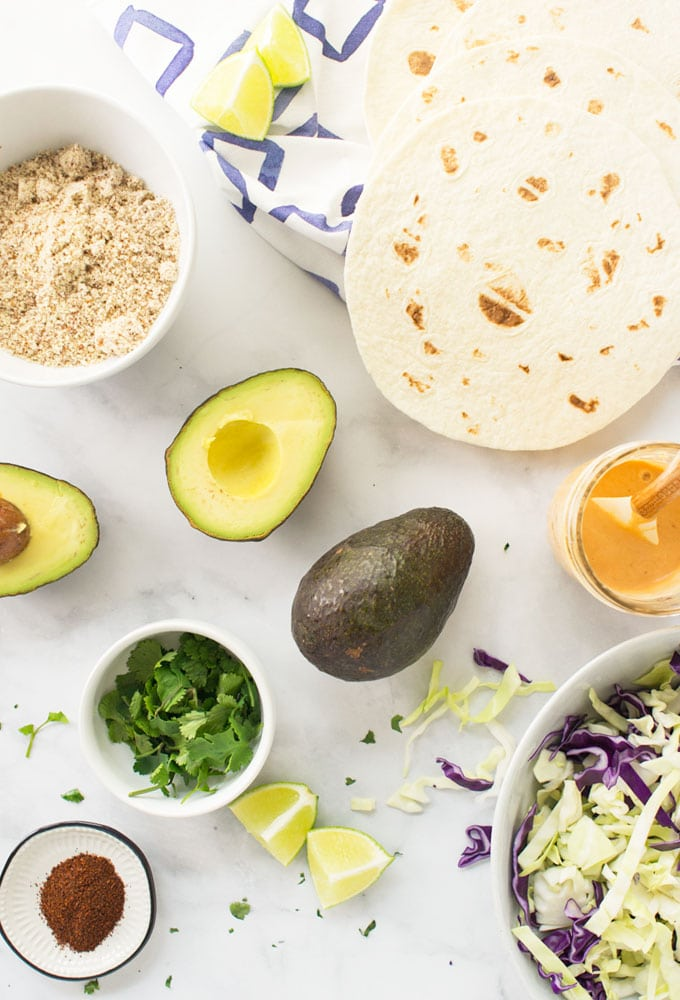 ingredients for vegan avocado tacos