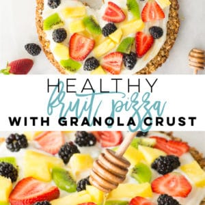 Healthy Fruit Pizza -- Fruit pizza with granola crust is so easy to make and the BEST Summer dessert! Naturally gluten-free crust with Greek yogurt and fresh fruit topping! Options to make vegan, this recipe is great for breakfast or dessert. #healthy #glutenfree #dessert #breakfast #fruitpizza | Mindful Avocado