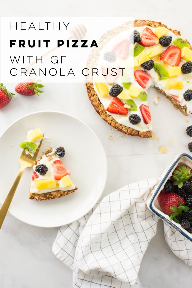 Fruit pizza is the PERFECT summertime dessert! This healthy recipe features a granola crust with a greek yogurt and fresh fruit topping. Add fresh berries for a festive Fourth of July dessert! #healthy #glutenfree #dessert #breakfast #fruitpizza | Mindful Avocado